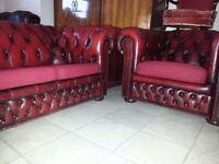 ox blood red leather chesterfield club chair & 3 setter.