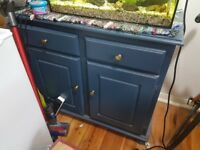 Dark blue paint drawer and cupboard unit