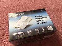 Brand New Sealed TrendNet 4 Port Powerline 500 AV Homeplug Adapter