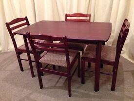 Small Kitchen / Dining Table & 4 Chairs - Mahogany