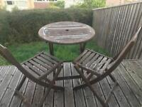 Garden Bistro Table and 2 Folding Chairs