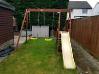 Plum wooden double swing and slide set