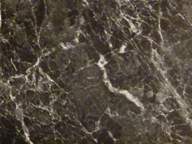 Worktop - black and white gloss marble effect laminate, would suit bathroom or bedroom 2400x670x11mm