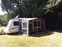 Isabella Magnum Porch Awning with Lightweight poles & Curtains all in Good Condition