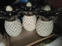 3 cream pineapple canisters