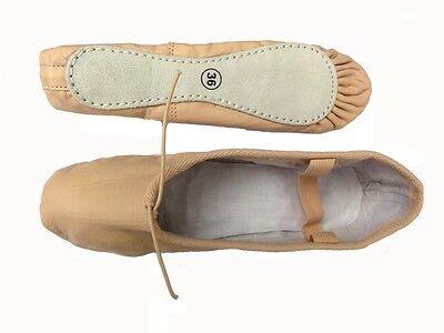 Leder Ballettschuhe, Schläppchen Ballettis aus Leder mit Stoffeinlage