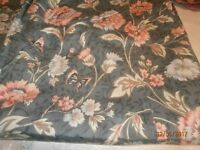 PAIR OF DARK BLUE/LIGHT BLUE/PINK FLORAL, UNLINED CURTAINS AND 6 PLAIN DARK BLUE CUSHION COVERS
