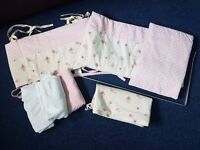 CRIB bedding set GREAT CONDITION with canopy / drape holder