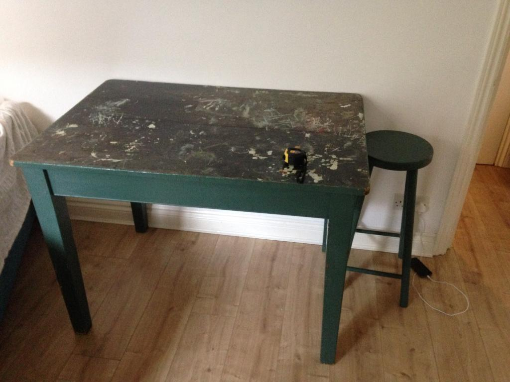Arty wooden table and stool