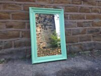 Large Vintage Antique French Shabby Chic Mirror Painted Green Rectangular Wooden Wall Hanging