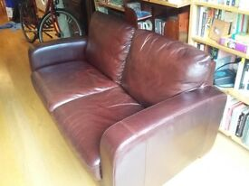 Dark brown leather 2-seat sofa