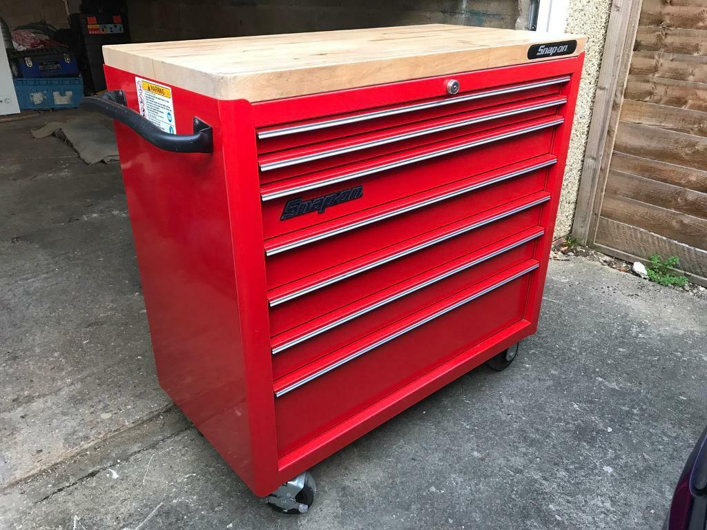 "Snap On 40"" Wooden Top Tool Box"