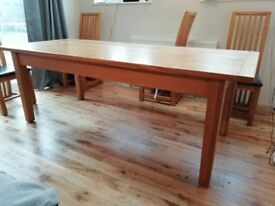 """Oak dining table, 7ft X 3ft wide, 30.5"""" high"""