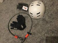Bike Accessory Bundle Kryptonite lock, Safety gloves, Bell helmet Men's Sizes