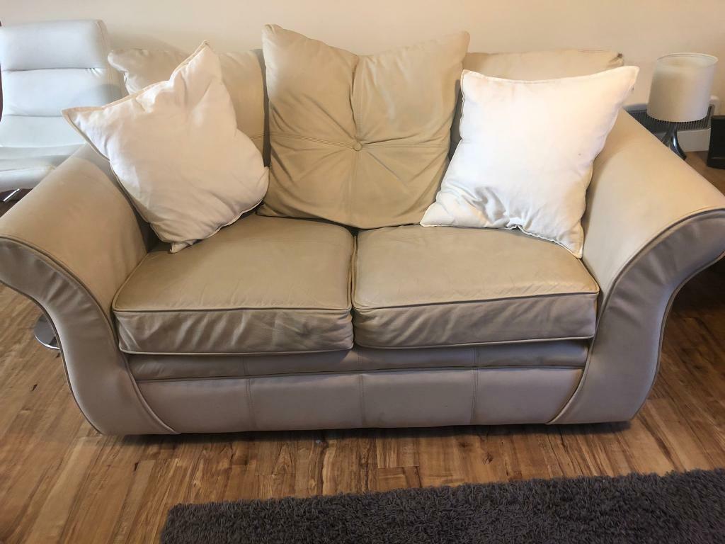 Cream Leather Sofa Cushions In Long Eaton Nottinghamshire Gumtree
