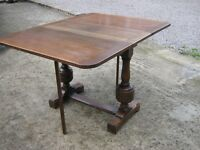 SOLID OAK DOUBLE GATE LEG FOLDING DINING TABLE