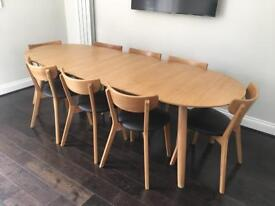 John Lewis extendable dining Room Table + 8 chairs