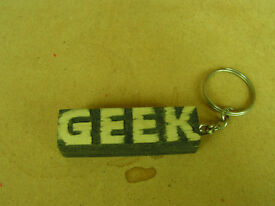 hand made geek wooden key ring one of a kind made by CR customs