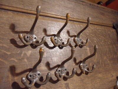 set of 6 school style cast iron triple coat hooks bag or coat hanging hooks 6CH