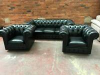 Charming black leather Chesterfield 3 seater sofa with 2 matching tub chairs