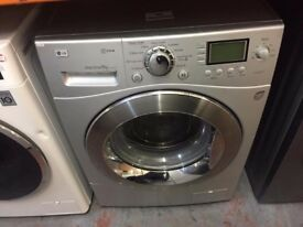 LG 9KG 1400 SPIN WASHING MACHINE SILVER RECONDITIONED