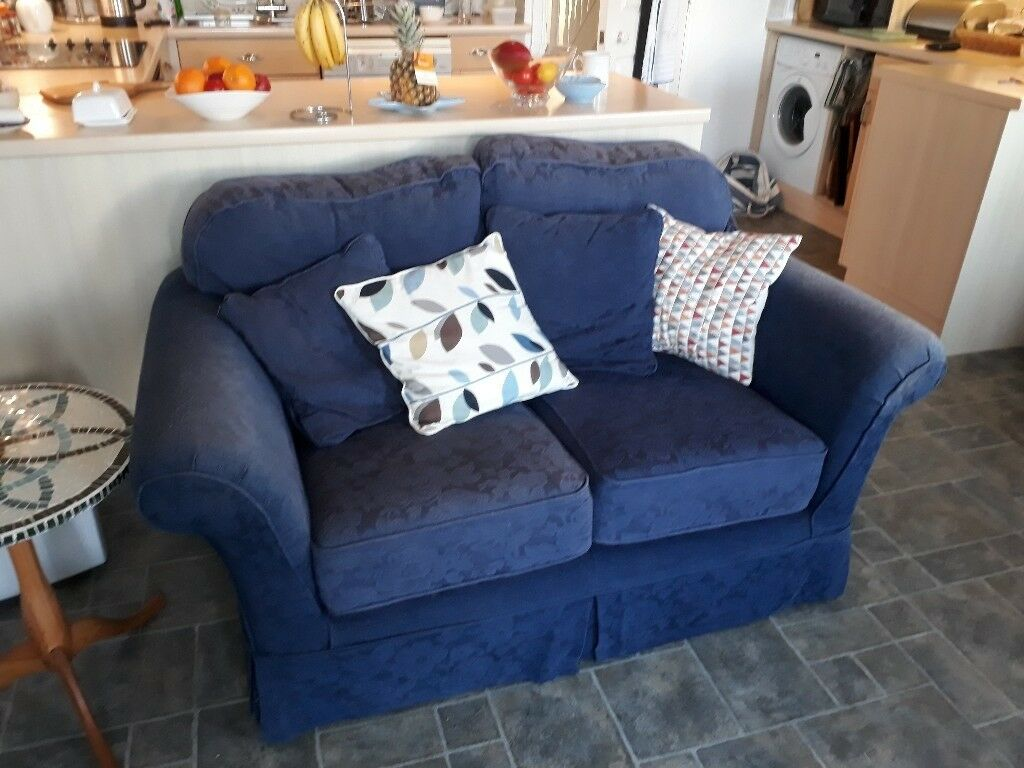 Two seater sofa, dark blue