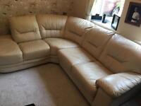 5 seat cream leather corner sofa