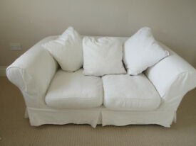 2 Seat Sofa linen/cotton white