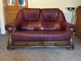 Three and two seater soft leather sofas. £200.ONO
