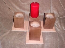 "4 WOOD CANDLE HOLDERS STANDS for 75mm 3"" CANDLES IDEAL FOR CHRISTMAS TABLE"