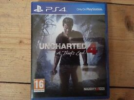 Ps4 game uncharted 4 used mint condition