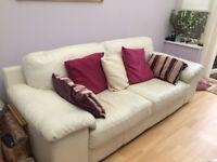 Cream Maskreys leather sofa