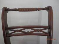 set of six mahogany harm chairs with gold draylon seats