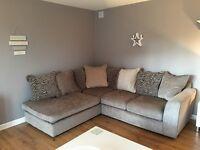 corner sofa mink with animal print cushions