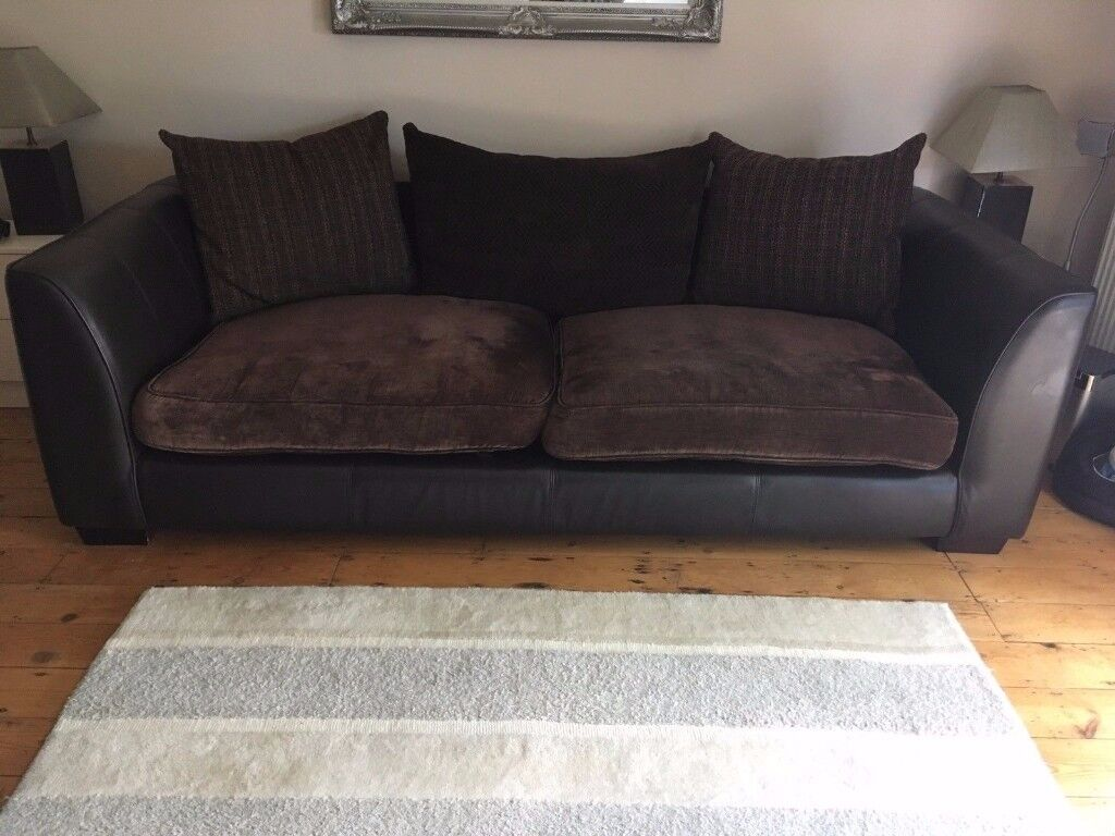 4 seater Sofa, Brown Leather and Fabric