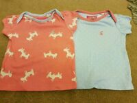 2 joules t shirts 3-6 months