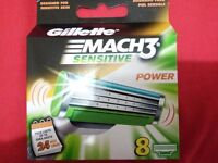 Gillette Mach3 sensitive power blades 8 blade in 1 pack just 1 pound 37 pence each or 11 £ for pak