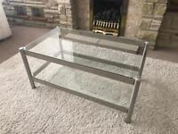 Brushed steel and glass coffee table