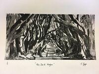 The Dark Hedges - Game of Thrones -Hand drawn Monoprint, 1/1