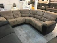 New jumbo cord corner sofa with recliner ends