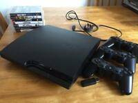 PS3 Sony PlayStation 3 Slim with THREE controllers and seven games