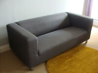 IKEA Klippan Two-seat Sofa For Sale with Dark Grey (Flackarp) Cover