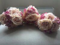 Artificial wedding flowers: Large rose bunch bouquet x3