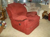 Reclining arm chair - Large, Burgandy/wine coloured patterned plush fabric.