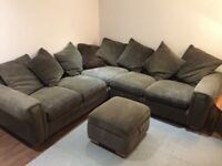 Jumbo grey corner sofa / L shaped sofa