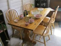 MODERN LONG SOLID PINE TABLE & 4 LARGE HOOP BACK PINE CHAIRS. VIEWING / DELIVERY AVAILABLE