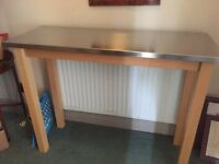 John Lewis Stainless Steel top Breakfast Bar with two chairs in very good condition