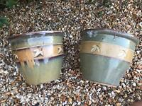 Two Ceramic garden planter pots green and beige beautiful