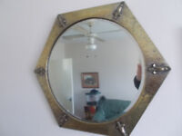 Brass art deco style, hexagon bevelled edge mirror, with a about two foot by two foot,,condition