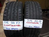 MATCHING PAIR 215 50 17 CONTISPORT 5s 7mm TREAD £70 (LOADS MORE AV 7-DAYS) PUNCTURES £8 no app nes